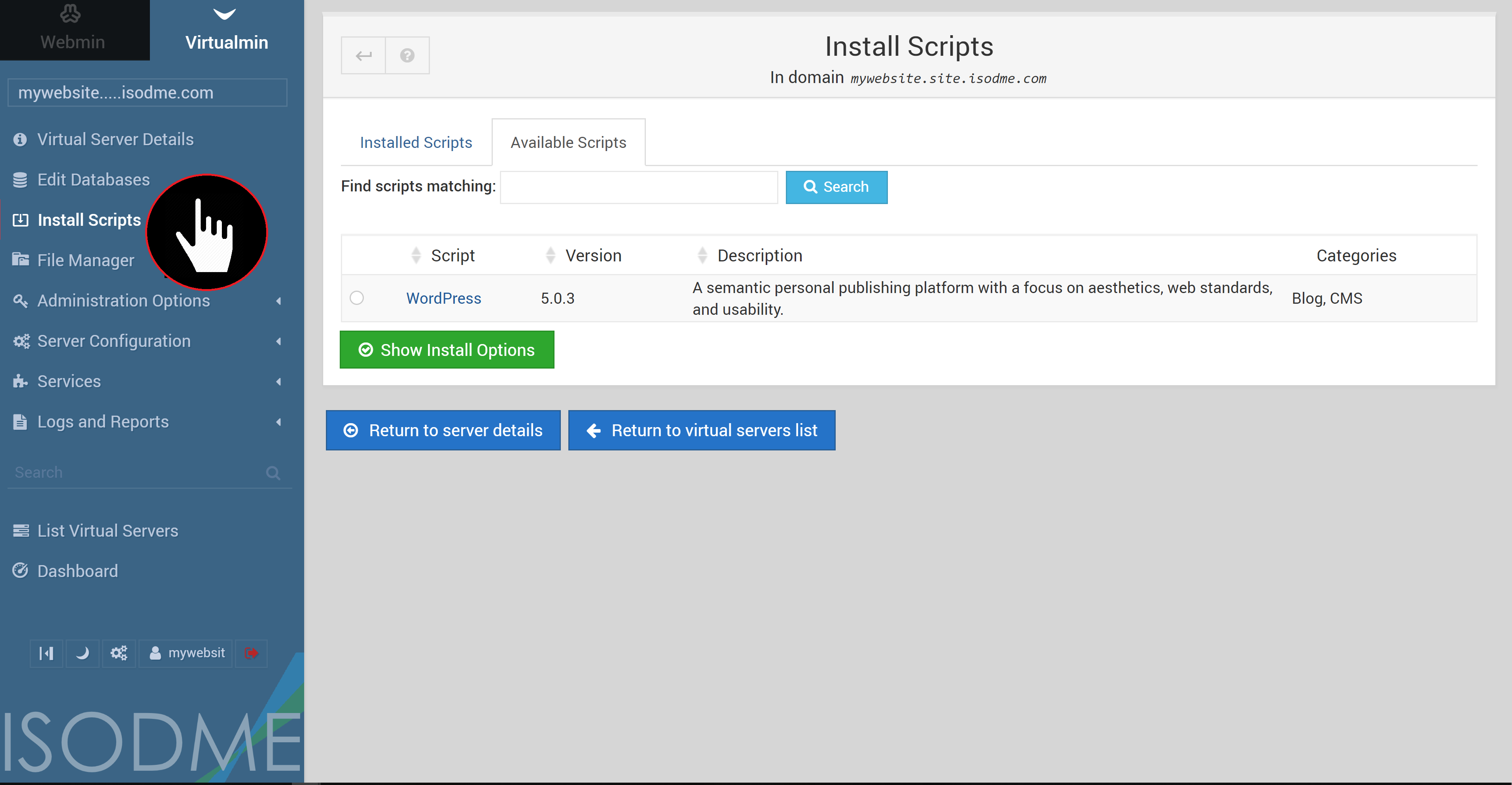 Virtualmin Install Scripts Page