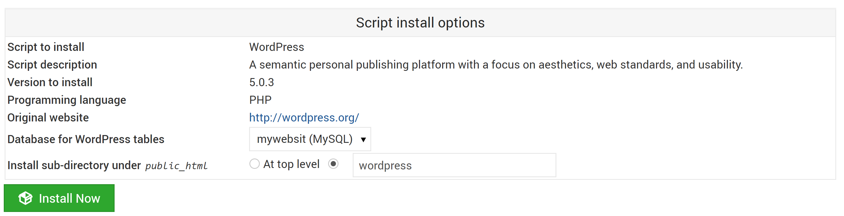 Virtualmin Wordpress Install Options